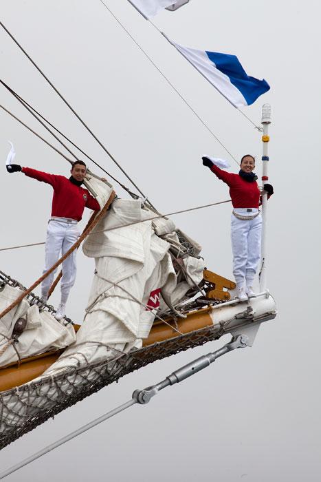 Some of the crew of the Columbian tall ship Gloria saying farewell to Shetland.